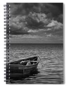 Anchored Row Boat Looking Out To Sea Spiral Notebook