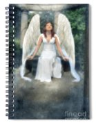 Angel On Stone Bench Looking Up Into The Light Spiral Notebook