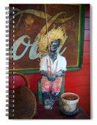 Antique Plaster Black Child Fisherman With Coca Cola Background Spiral Notebook