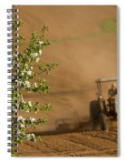 Apple Blossoms And Farmer On Tractor Spiral Notebook