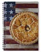 Apple Pie On Folk Art  American Flag Spiral Notebook
