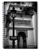 Arc De Triomphe - Black And White Spiral Notebook