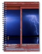 August Storm Red Barn Picture Window Frame Photo Art View Spiral Notebook