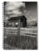 Autumn Barn Black And White Spiral Notebook