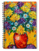 Autumn Flowers Gorgeous Mums - Original Oil Painting Spiral Notebook