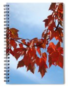 Autumn Leaves Tree Red Orange Art Prints Blue Sky White Clouds Spiral Notebook