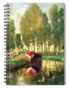 Barge On A River Normandy Spiral Notebook