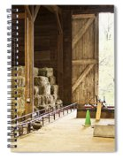 Barn With Hay Bales And Farm Equipment Spiral Notebook