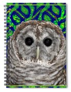 Barred Owl In A Fractal Tree Spiral Notebook
