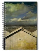 Beach Huts Under A Stormy Sky. Vintage-look. Normandy. France Spiral Notebook