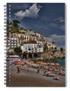 Beach Scene In Amalfi On The Amalfi Coast In Italy Spiral Notebook