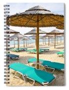 Beach Umbrellas On Sandy Seashore Spiral Notebook
