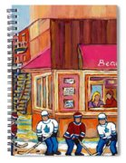 Beauty's Restaurant-montreal Street Scene Painting-hockey Game-hockeyart Spiral Notebook