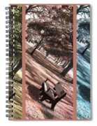 Bench In The Park Triptych  Spiral Notebook