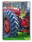 Big Red Rubber Tire Tractor Spiral Notebook