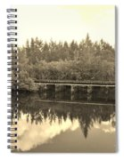 Big Sky And Dock On The River In Sepia Spiral Notebook