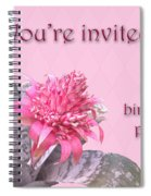 Birthday Party Invitation - Pink Flowering Bromeliad Spiral Notebook
