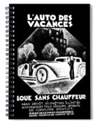 Black And White French Car Spiral Notebook