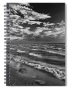 Black And White Shoreline Of Lake Spiral Notebook