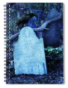 Black Bird Perched On Old Tombstone Spiral Notebook