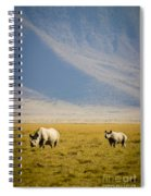 Black Rhinos Walking Across The Crater Spiral Notebook