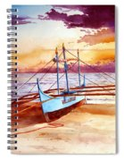 Blue Boat On The Shore Spiral Notebook