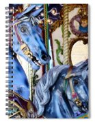 Blue Carousel Merry Go Round Horses Spiral Notebook