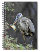 Blue Heron With Fish Spiral Notebook