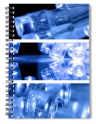 Blue Led Lights In Three Strips Spiral Notebook
