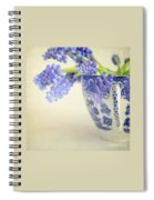 Blue Muscari Flowers In Blue And White China Cup Spiral Notebook