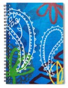Blue Paisley Garden Spiral Notebook