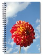 Blue Sky White Clouds Floral Art Prints Dahlia Flowers Spiral Notebook