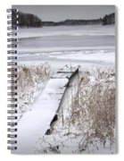 Boat Dock In Winter On A Lake No.0243 Spiral Notebook
