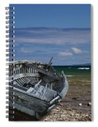 Boat Lying Shipwrecked On A Lake Michigan Shore Spiral Notebook