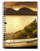 Boat On The Shore At Sunset, Island Of Spiral Notebook