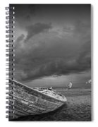Boat Stranded On A Beach Covered By Menacing Storm Clouds Spiral Notebook