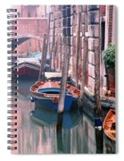 Boats Bridge And Reflections In A Venice Canal Spiral Notebook
