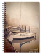 Boats In Foggy Harbor Spiral Notebook