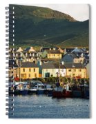 Boats In Harbor By Waterfront Village Spiral Notebook