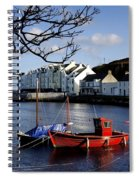 Boats Moored At A Riverbank With Spiral Notebook