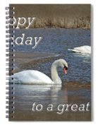 Boss Birthday Card - Mute Swans On Winter Pond Spiral Notebook