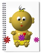 Bouncing Baby Girl With 7 Flowers Spiral Notebook