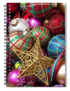 Box Of Christmas Ornaments With Star Spiral Notebook