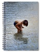 Boy Playing In The Pond Spiral Notebook