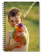 Boy Spraying Water Gun Spiral Notebook