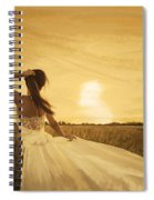 Bride In Yellow Field On Sunset  Spiral Notebook