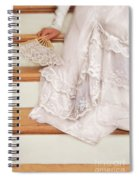 Bride Sitting On Stairs With Lace Fan Spiral Notebook