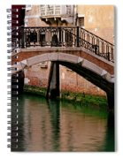Bridge And Striped Poles Over A Canal In Venice Spiral Notebook