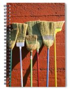 Brooms Leaning Against Wall Spiral Notebook