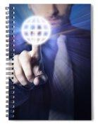 Businessman Pressing Touch Screen Button Spiral Notebook